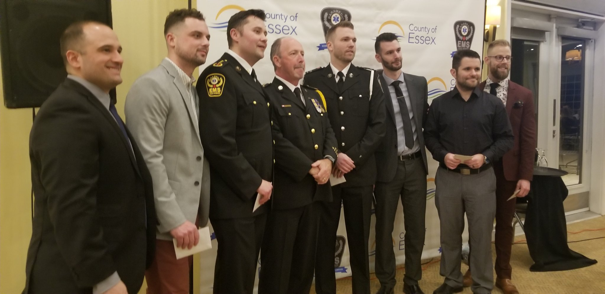 Paramedics being honoured at an awards ceremony.