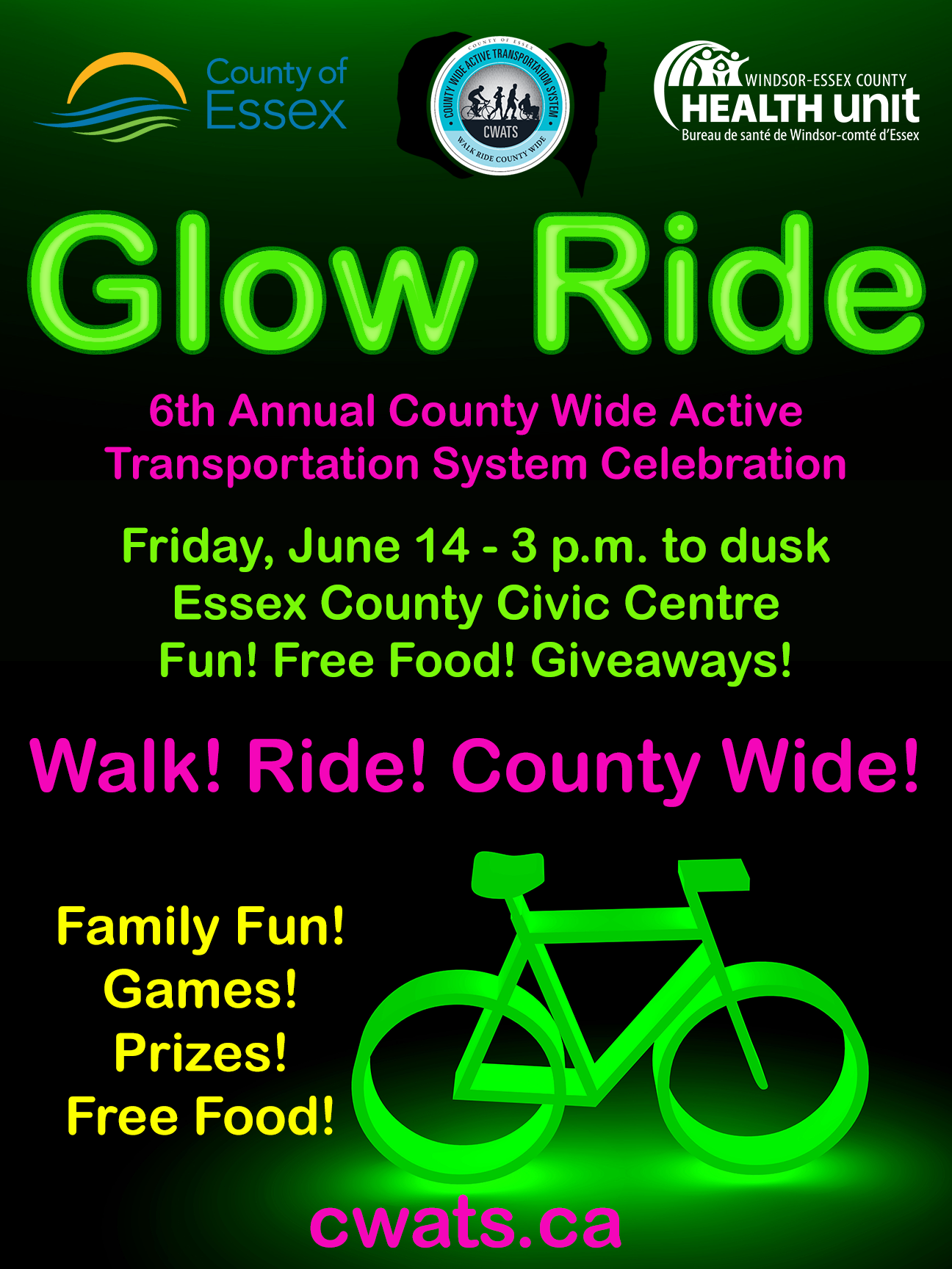 A poster with neon lettering and a green neon bike promoting the Glow Ride on June 14th.