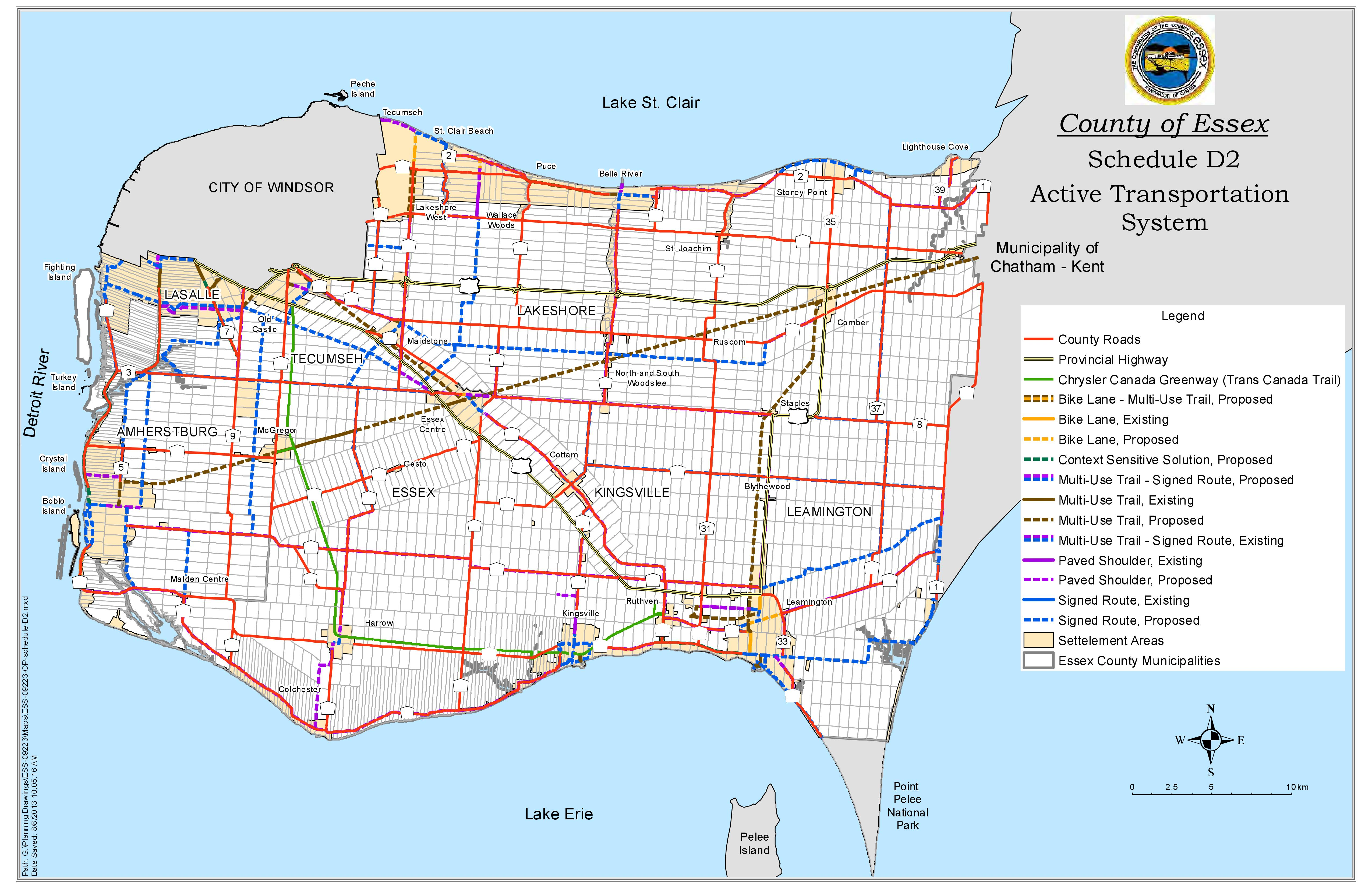 A map of Essex County showing the Active Transportation System