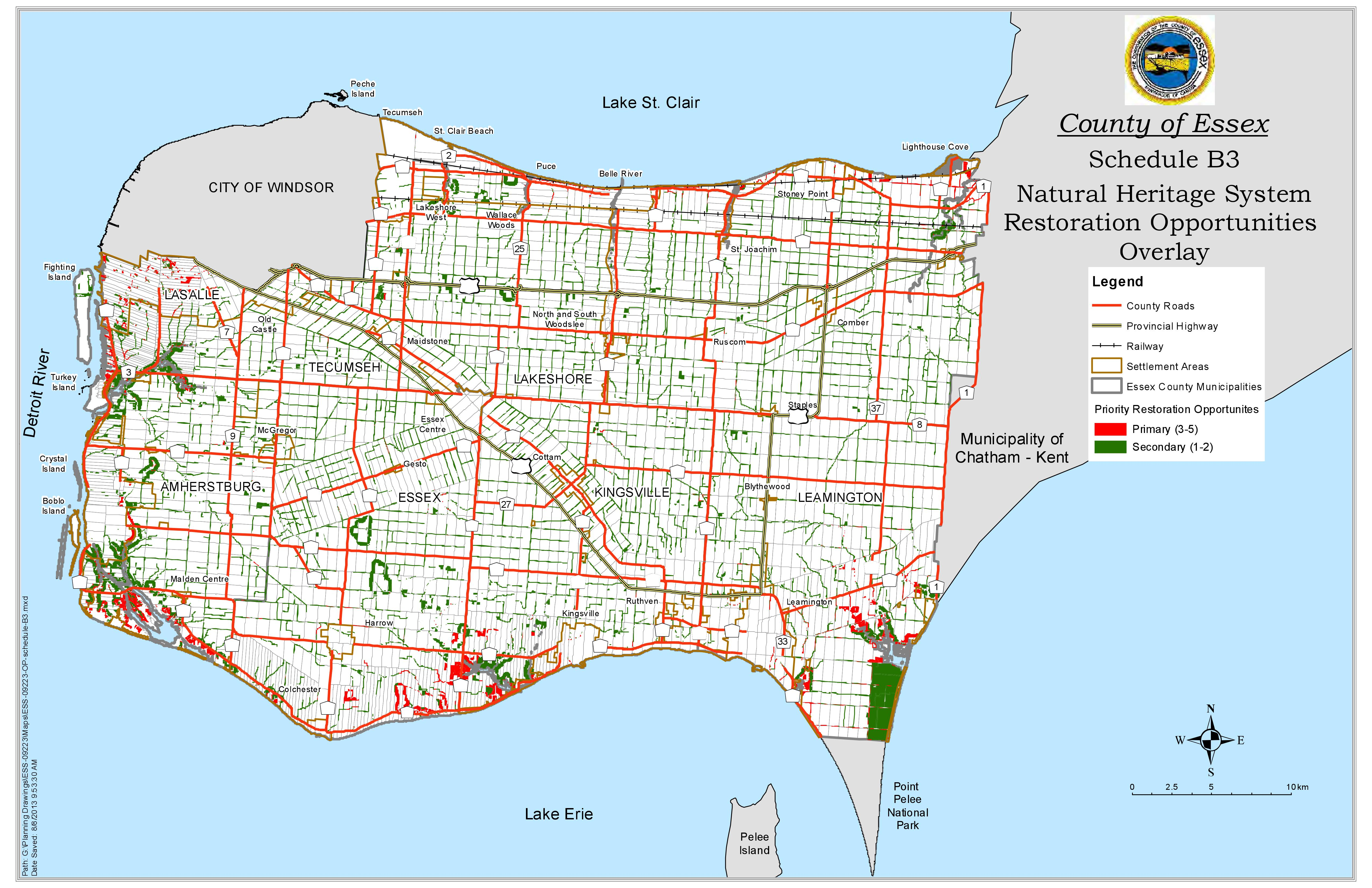 A map showing natural restoration opportunity areas in Essex County