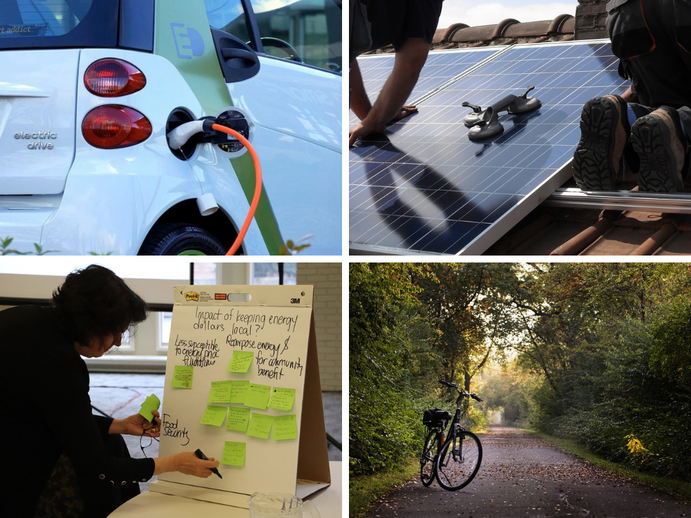 A mosaic featuring a bike on a pathway, workers installing solar panels, an electric vehicle charging station, and a participant at a climate change event writing on a poster board