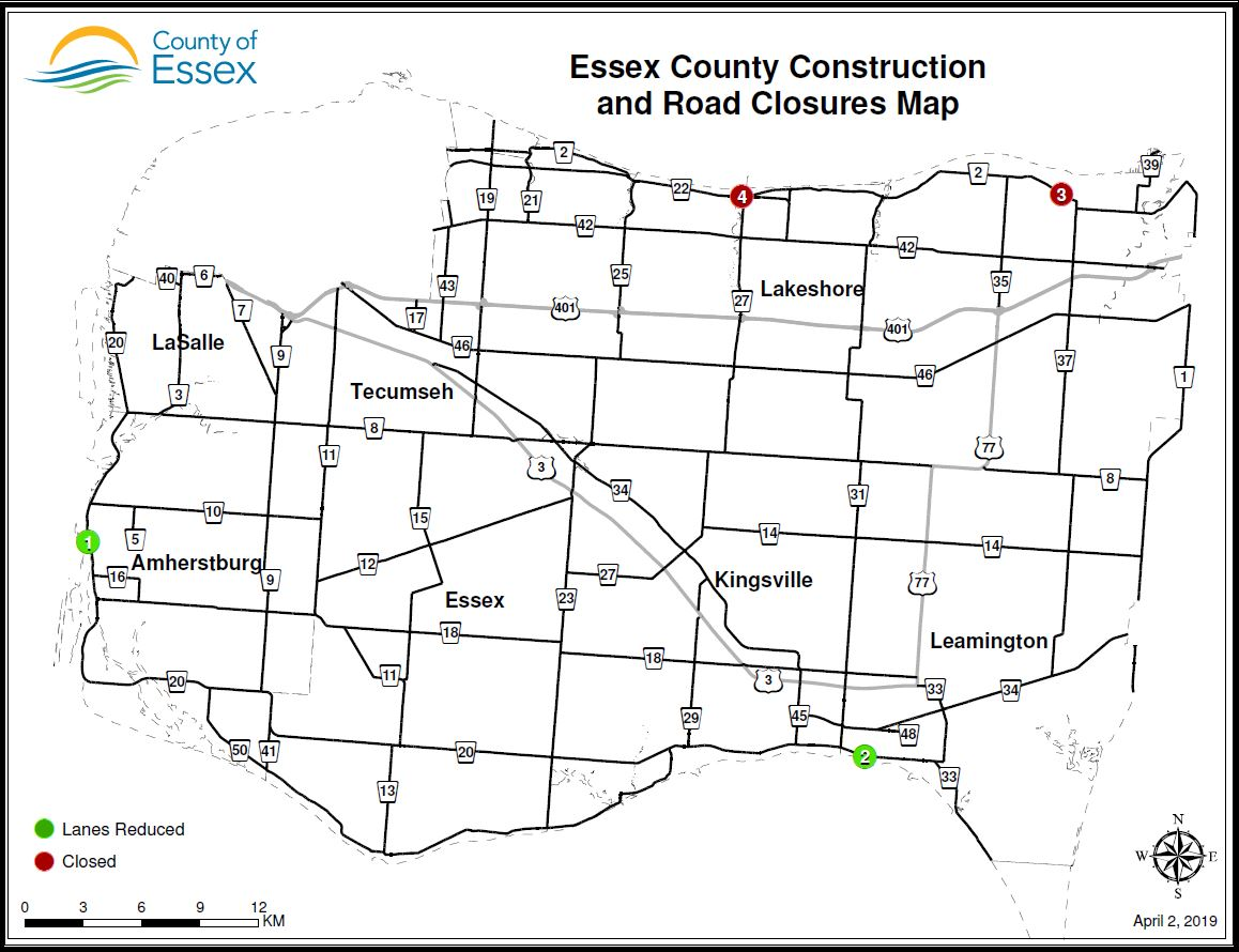 An Essex County road map showing construction locations on County Road 20, County Road 2 and County Road 22