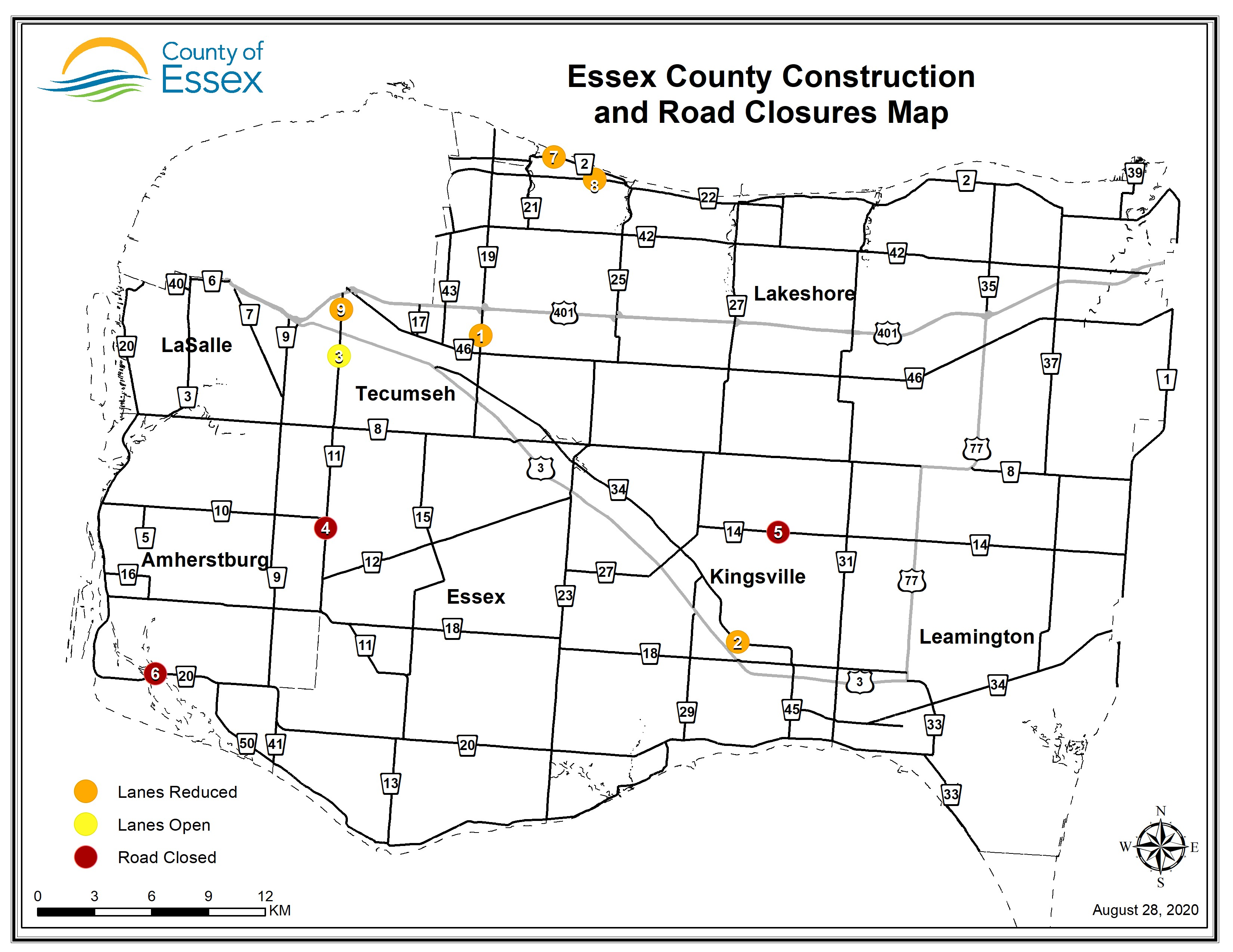A map of Essex County showing lane restrictions and road closures for August 28, 2020.