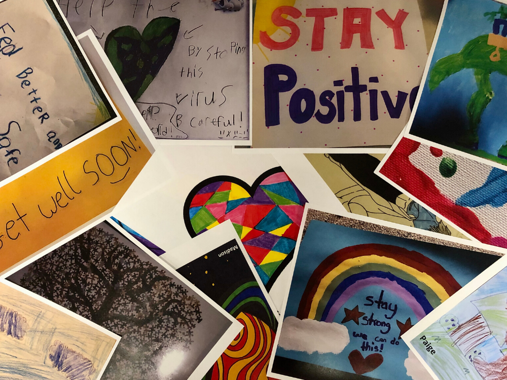 A collage of children's artwork created to boost spirits in regional healthcare facilities.