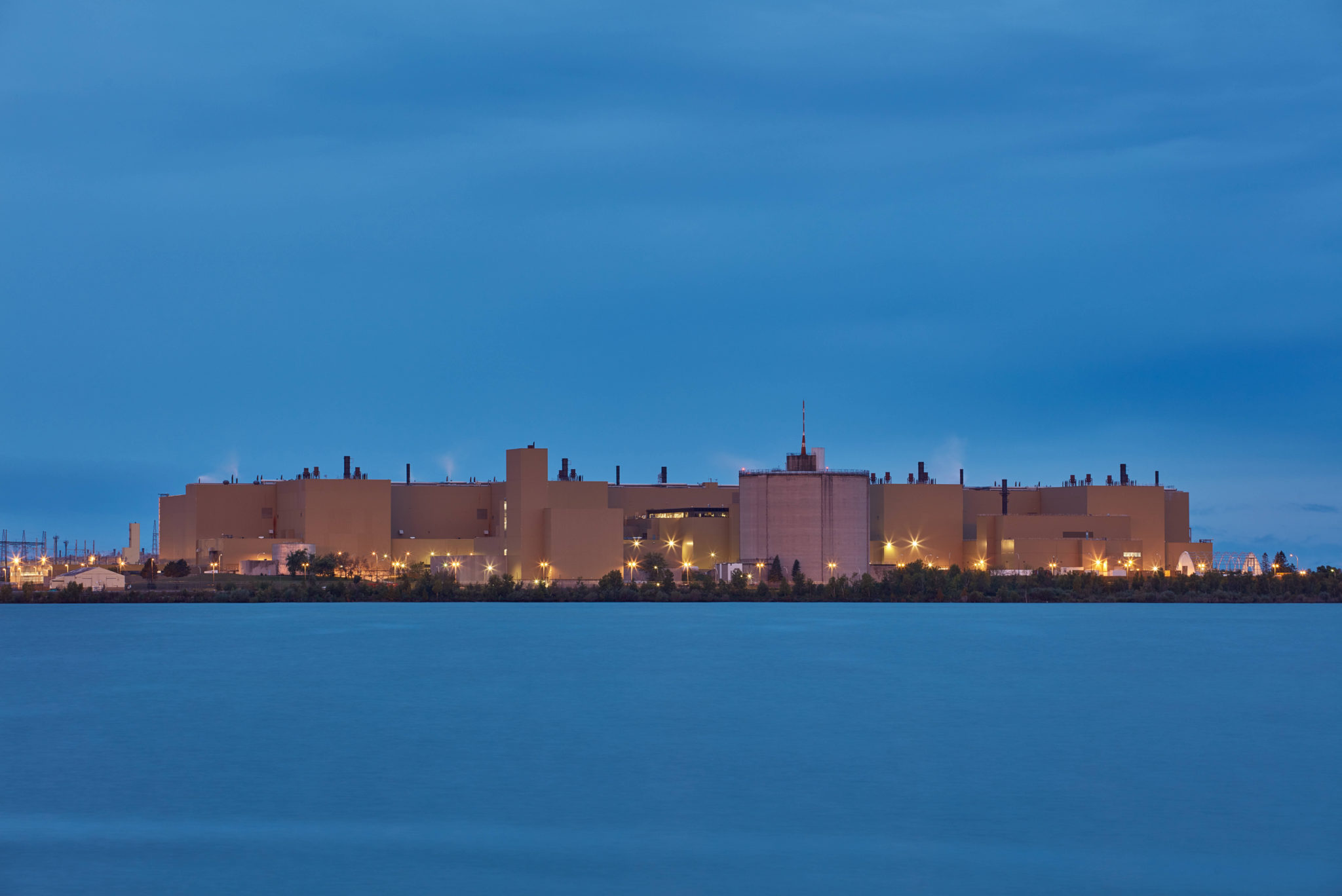 The Bruce Power Plant is seen at night.