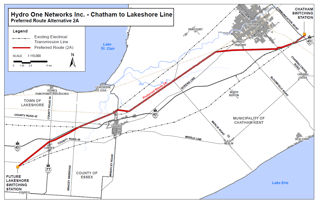 A map showing Hydro One's preferred route for the Chatham to Lakeshore Line