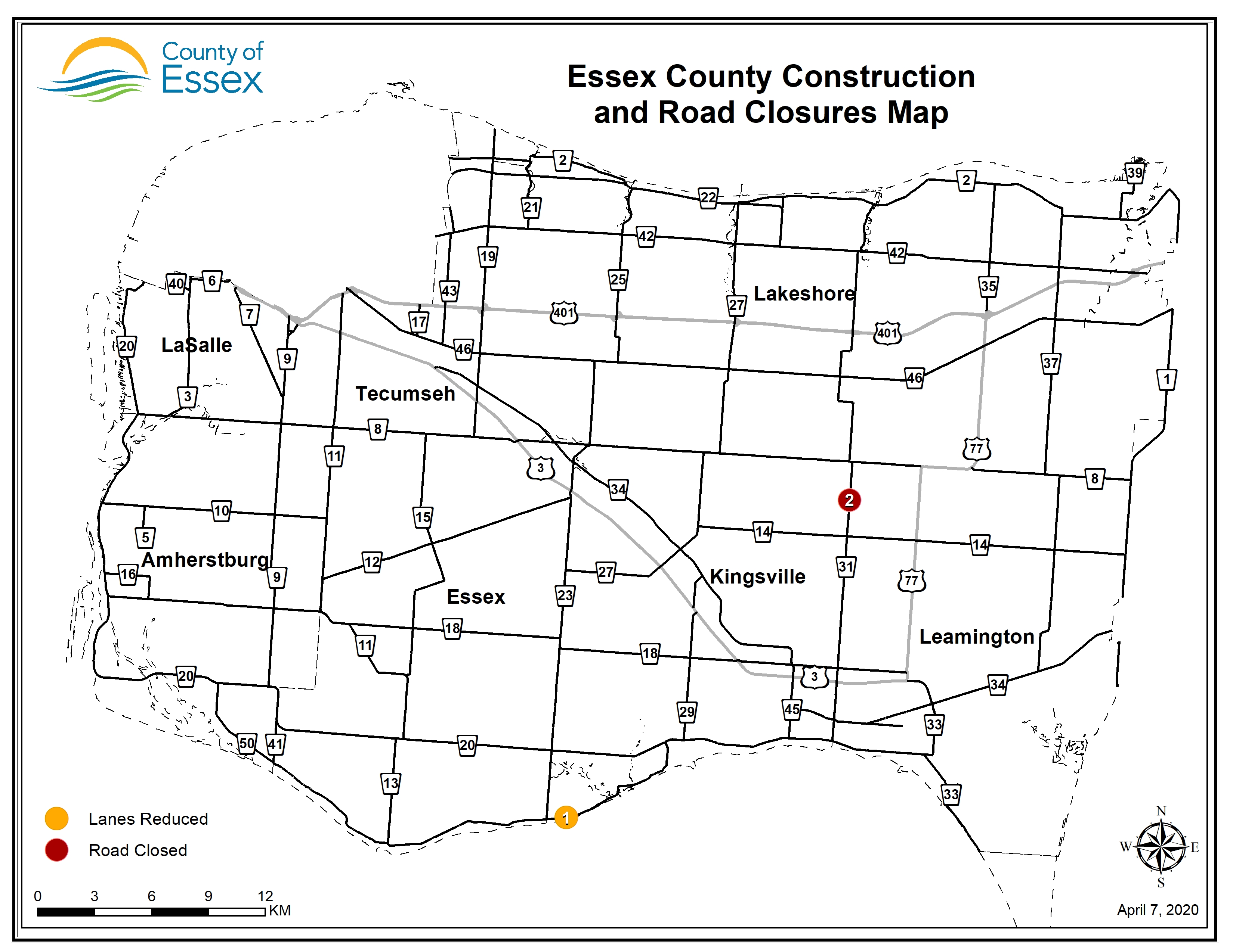 A map of Essex County showing road closures and lane restrictions on April 8, 2020.