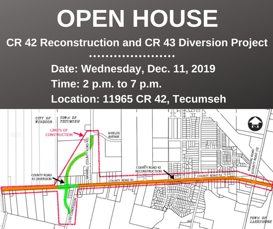 A map showing the location of the CR 42-43 Reconstruction and Diversion project and details of the Open House from 2 p.m. to 7 p.m. on Dec. 11 at 11965 County Road 42 in Tecumseh
