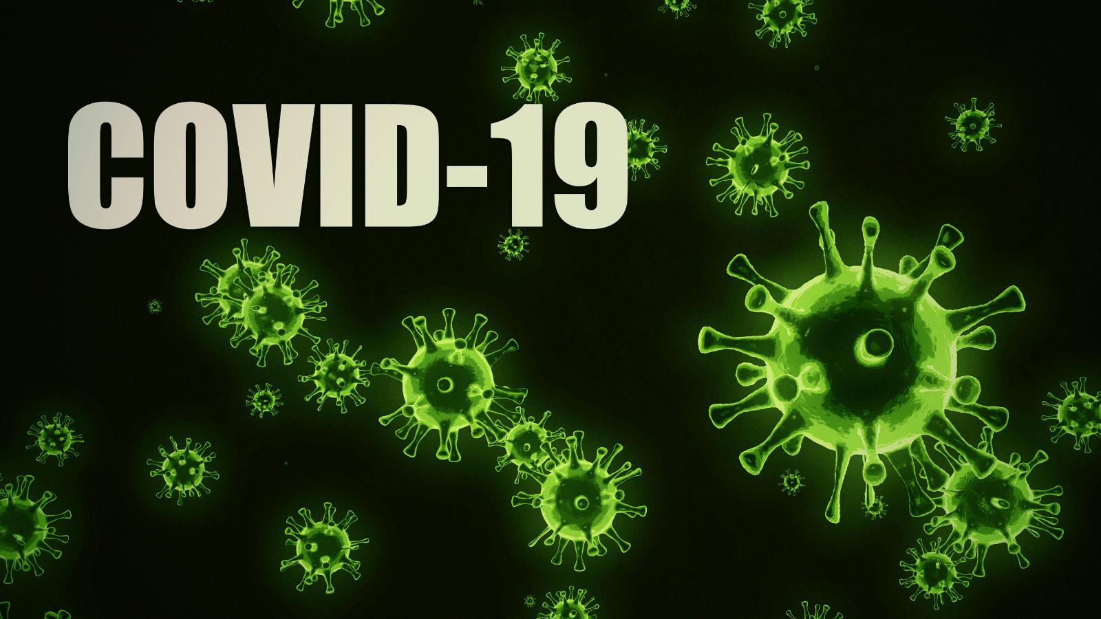COVID-19 with image of artist drawing of coronavirus.