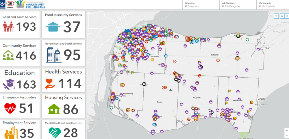 A screenshot of the community safety and well-being assets map of Windsor and Essex County