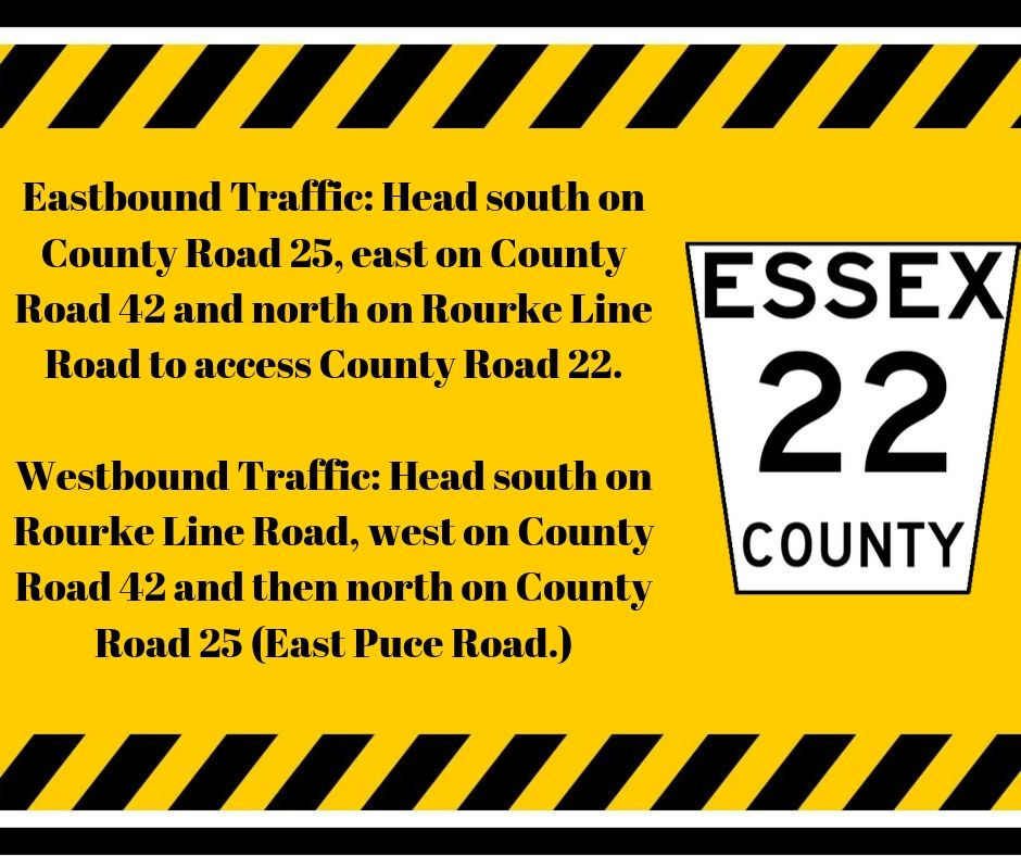 The County Road 22 Road shield and black letters against a yellow background detailing suggested detour routes.