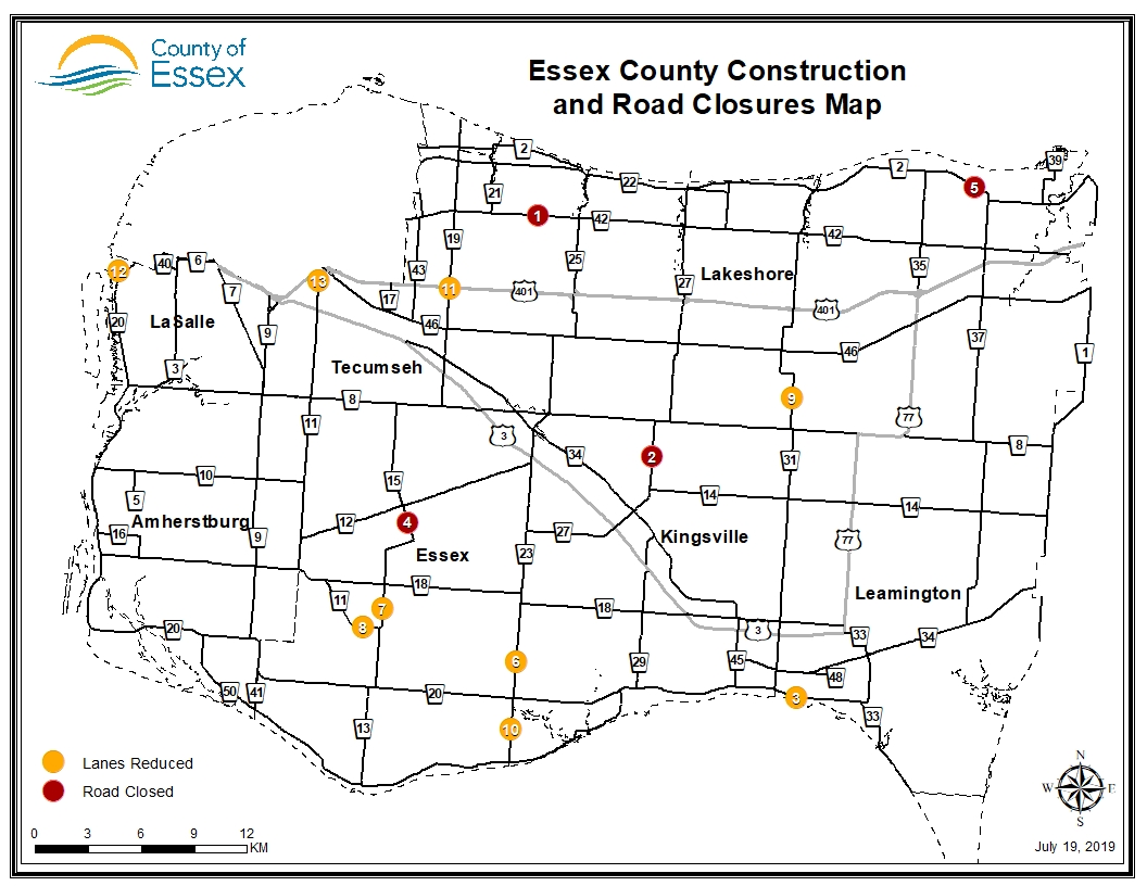 A map of Essex County showing road closures and lane reductions