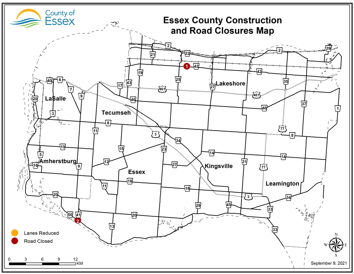 Essex County map showing road construction and closure locations.