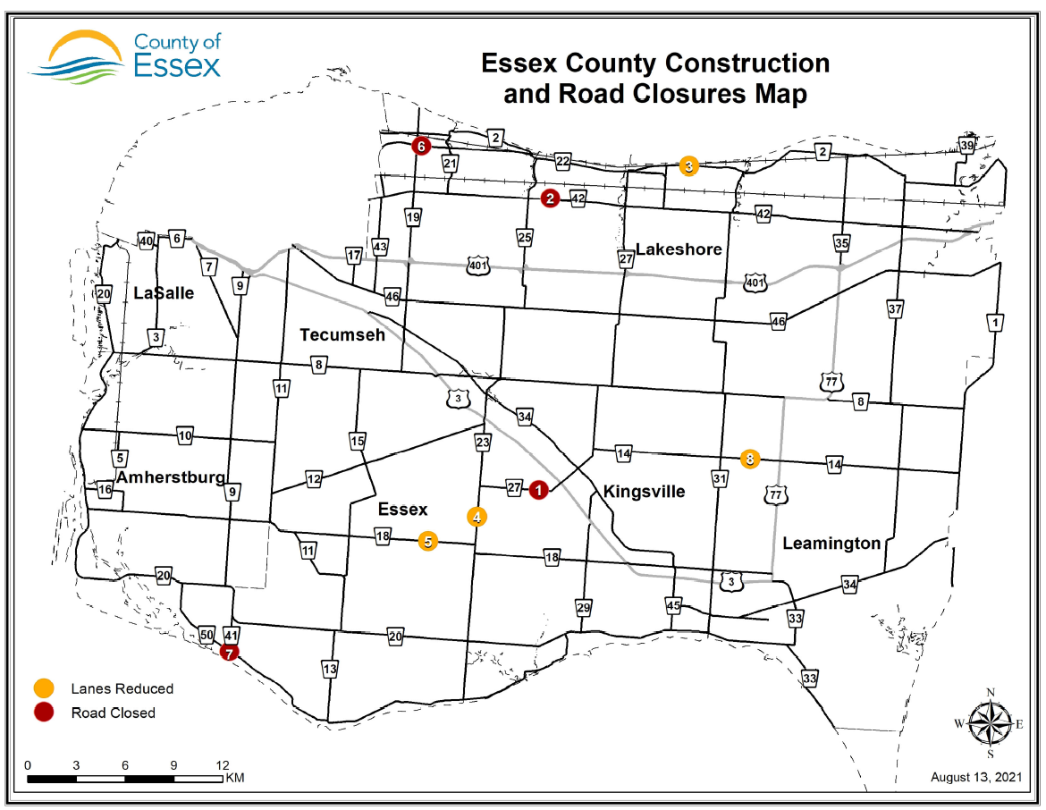 Essex County map showing road closure and construction locations.