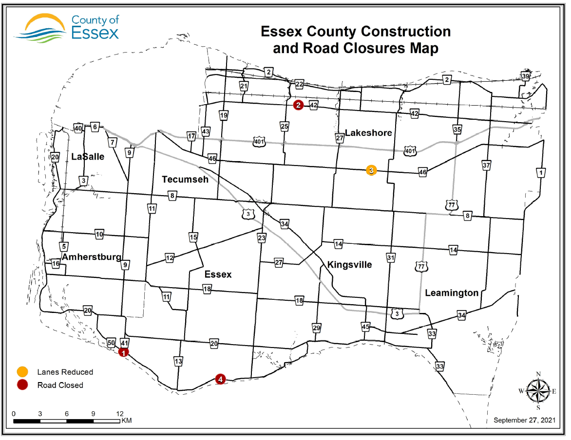 Map of Essex County showing construction and road closure locations as of Sept. 27, 2021
