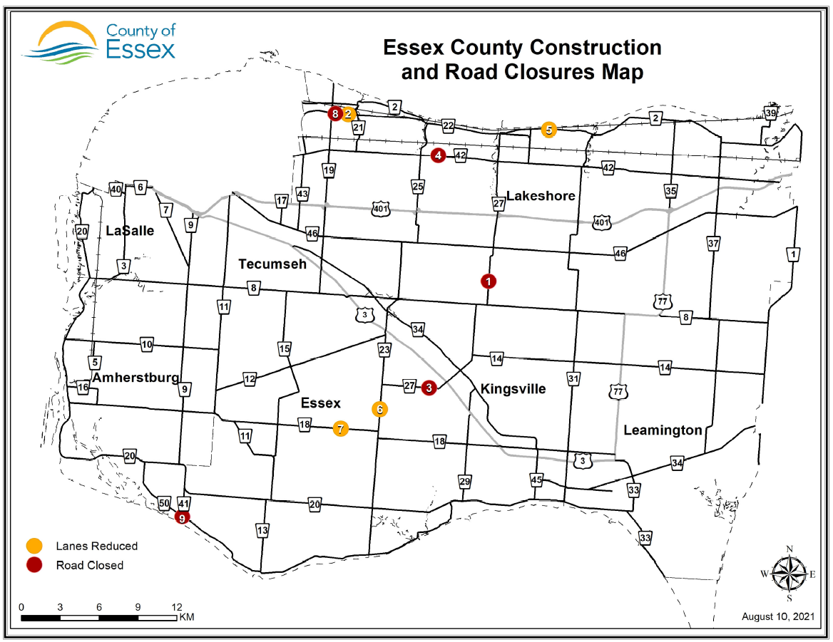 Map of Essex County showing construction and road closure locations.