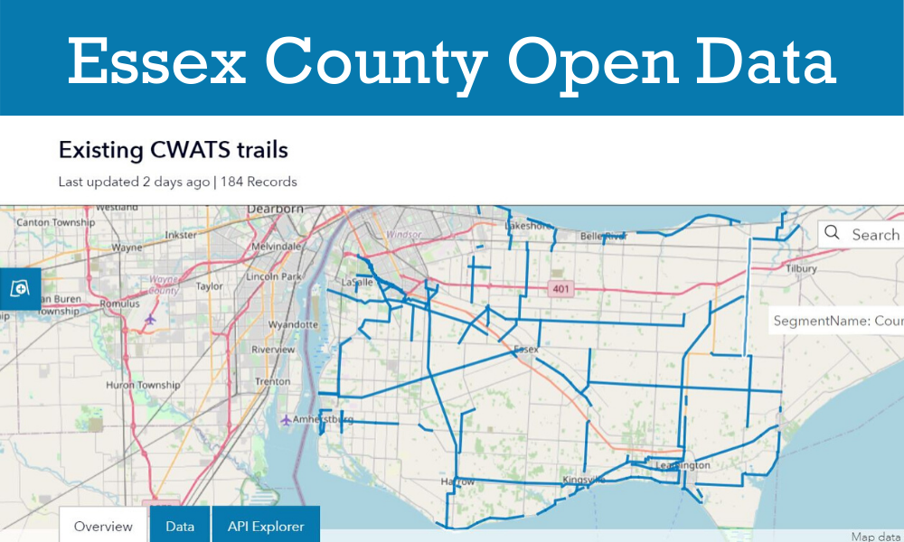 An Open Data map showing the CWATS network in Essex County