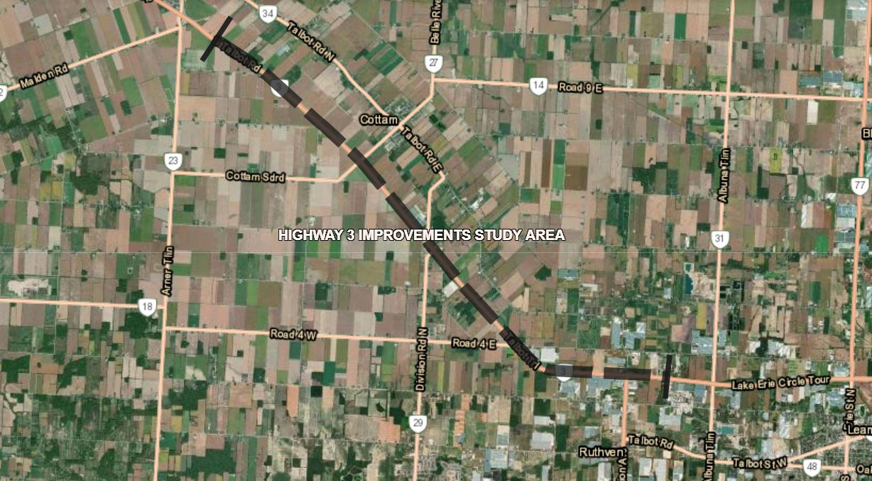 A satellite image showing the study limits of the Highway 3 Widening and Improvements Study