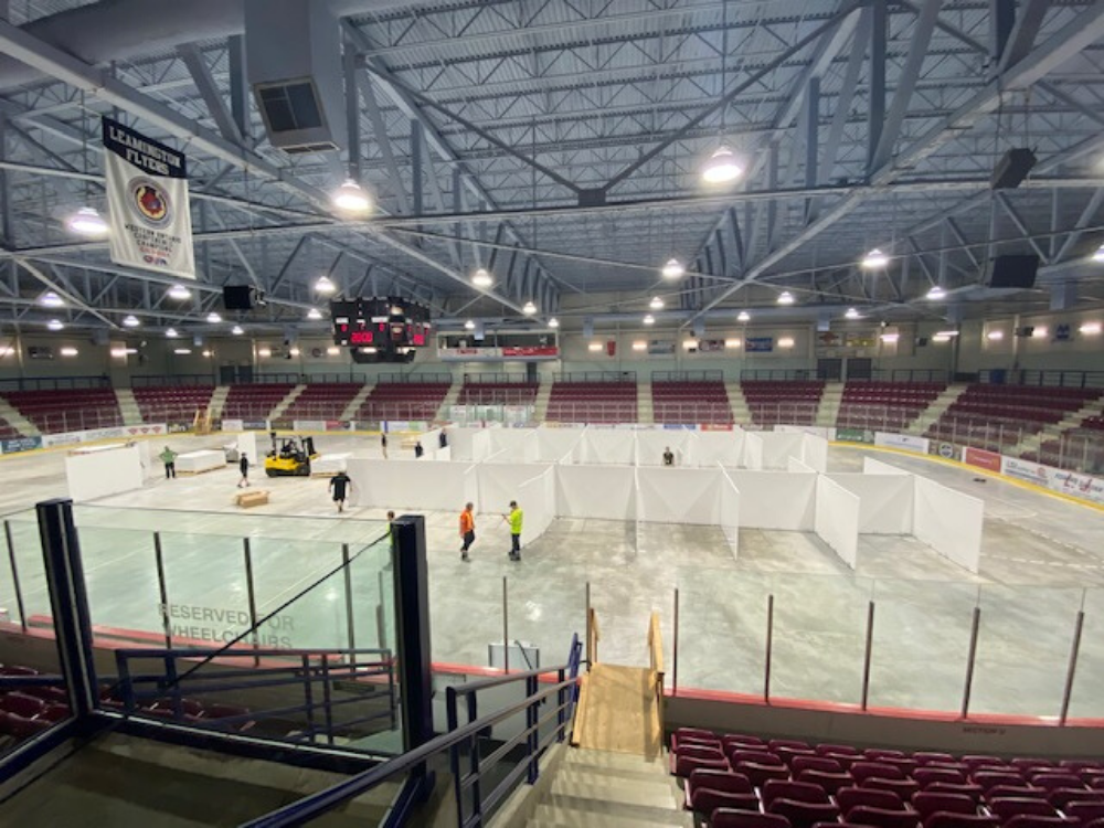 The pop-up isolation centre set up in a Leamington arena.