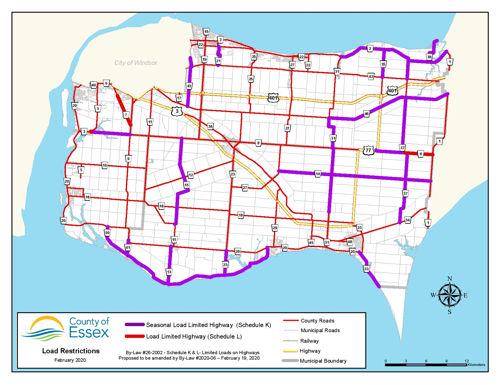 A map showing load restriction on County of Essex roads