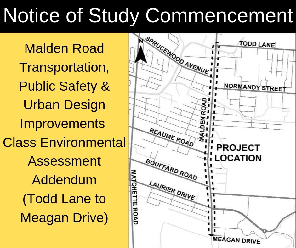 A map showing the location of the study on Malden Road from Todd Lane to Meagan Drive