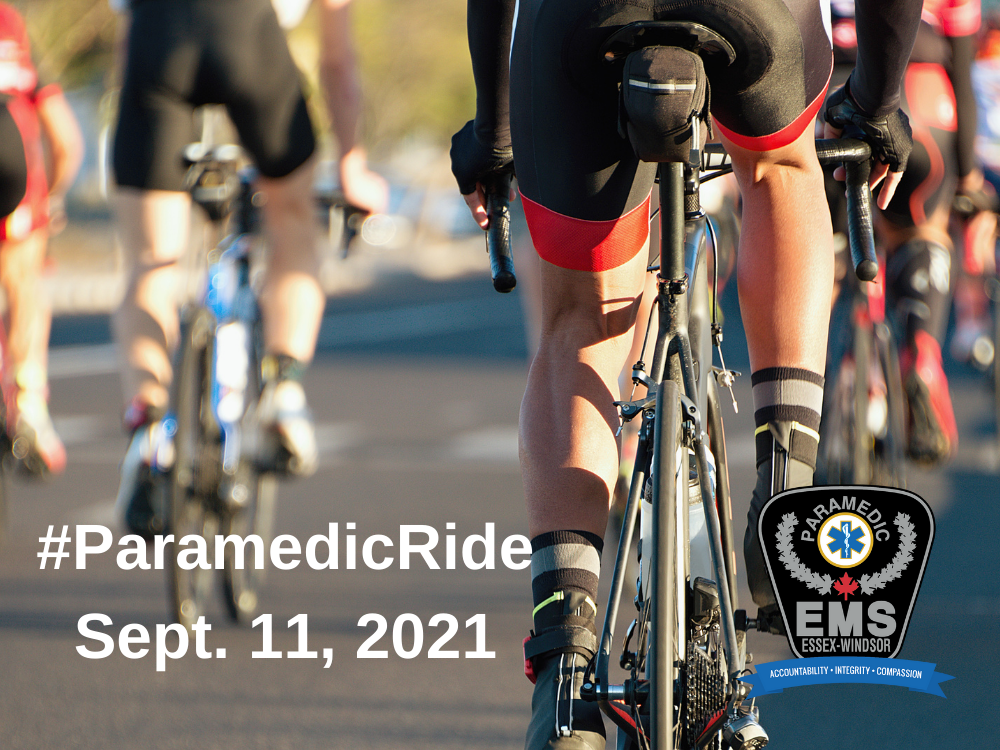 Cyclists on a road with the words #ParamedicRide Sept. 11, 2021 and the Essex-Windsor EMS logo.