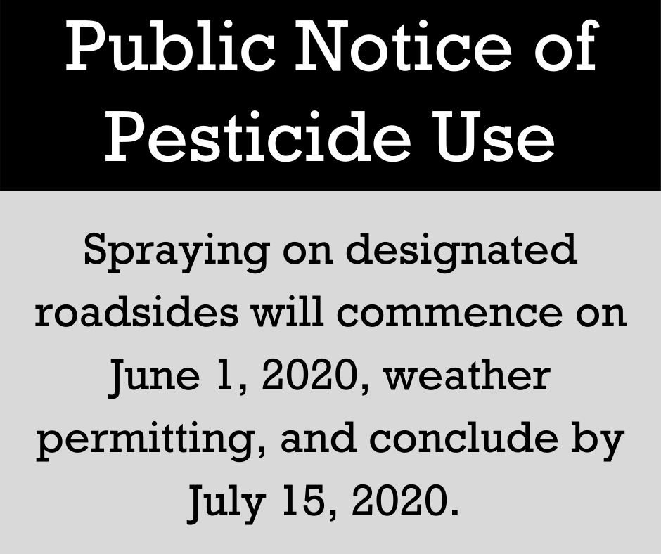 A black and grey notice informing that spraying will begin on June 1 and conclude by July 15
