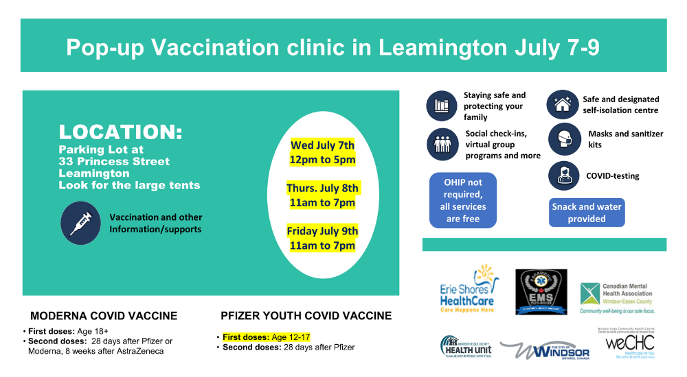 Poster with details of the July 7-9 pop-up vaccination event in Leamington.