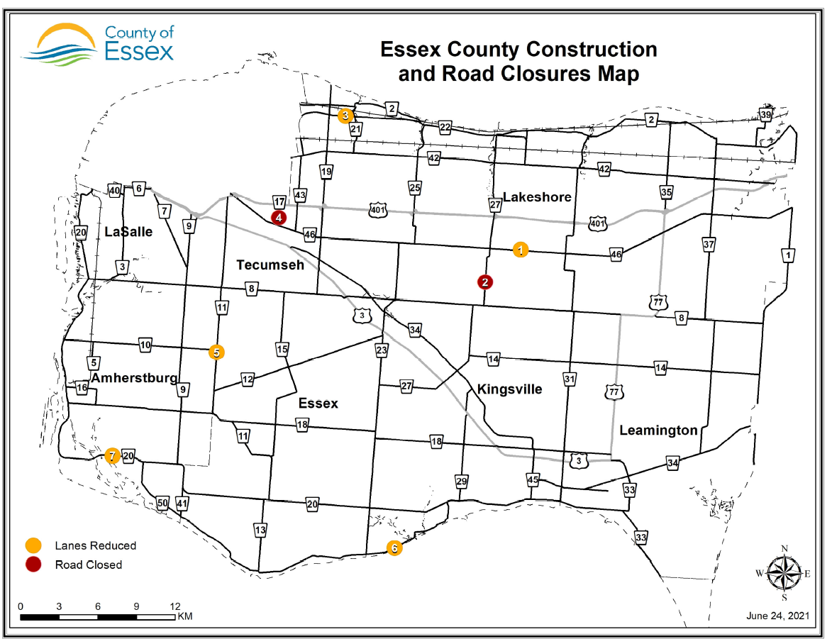 Map of Essex County showing road construction sites as of June 24, 2021.