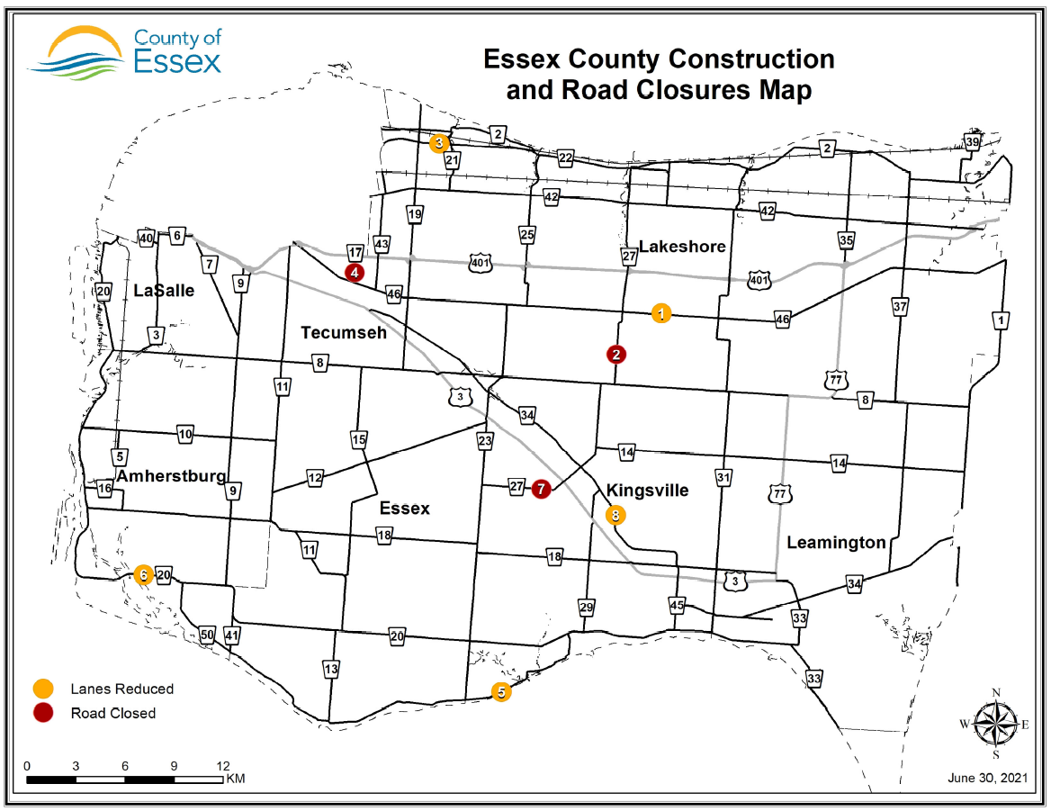 Map of Essex County showing road construction locations.