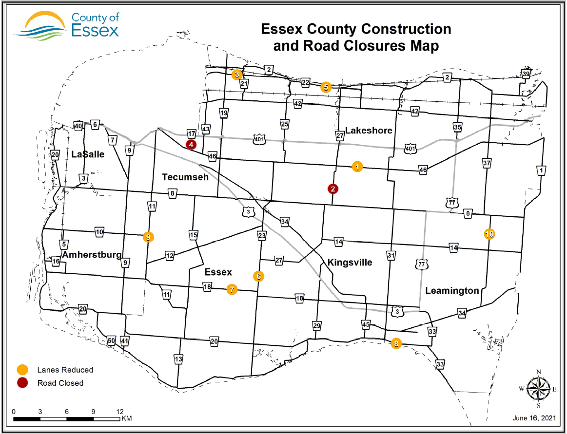 Map of County of Essex Roads with words