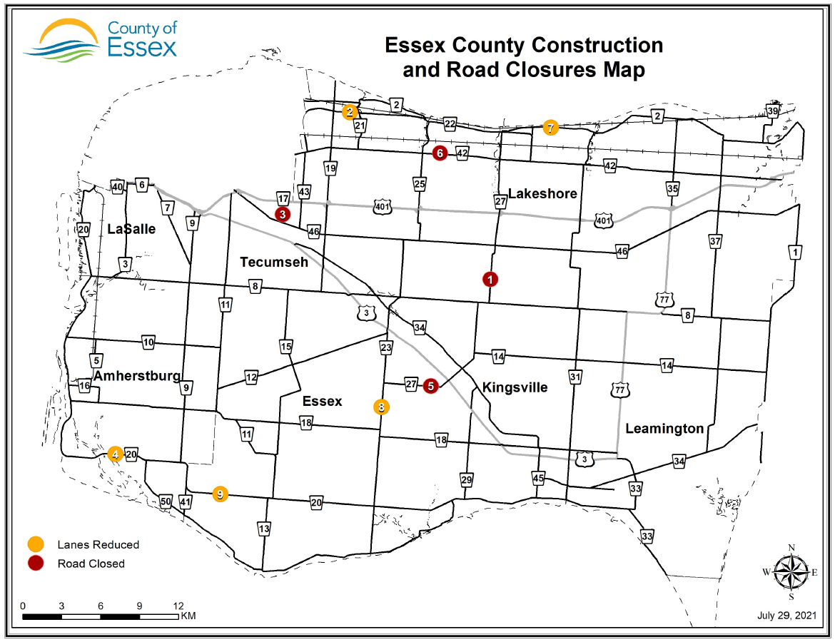 Map of Essex County road construction and closures for July 29, 2021.