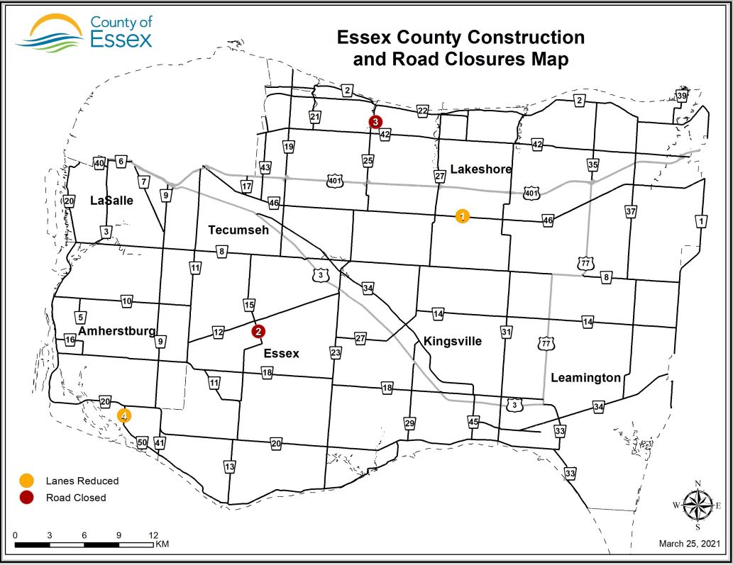 A map of Essex County showing lane restrictions and road closures for March 25, 2021