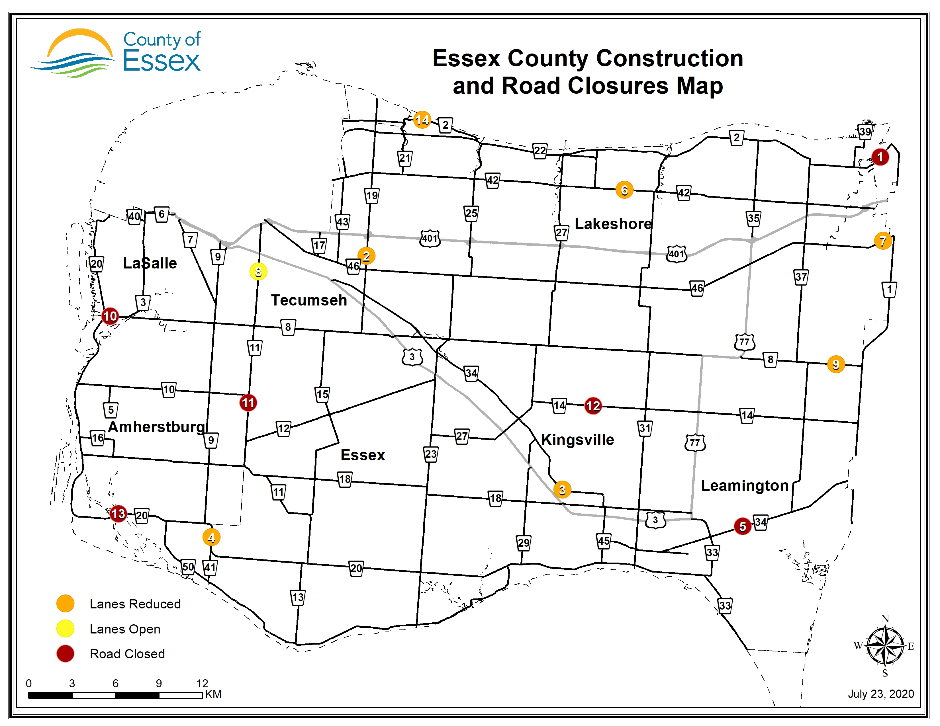 A map of Essex County showing lane restrictions and road closures for July 23, 2020