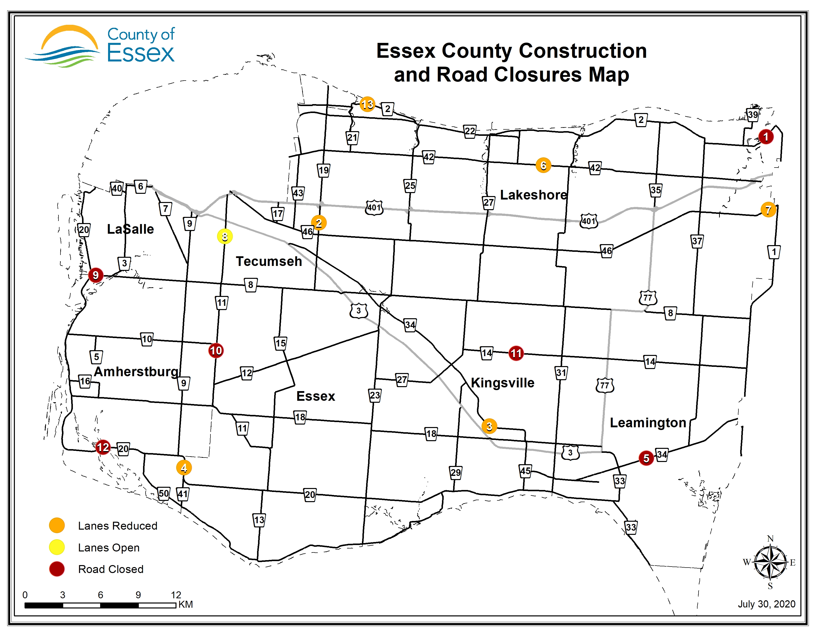 A map of Essex County showing road closures and lane restrictions for July 30, 2020.