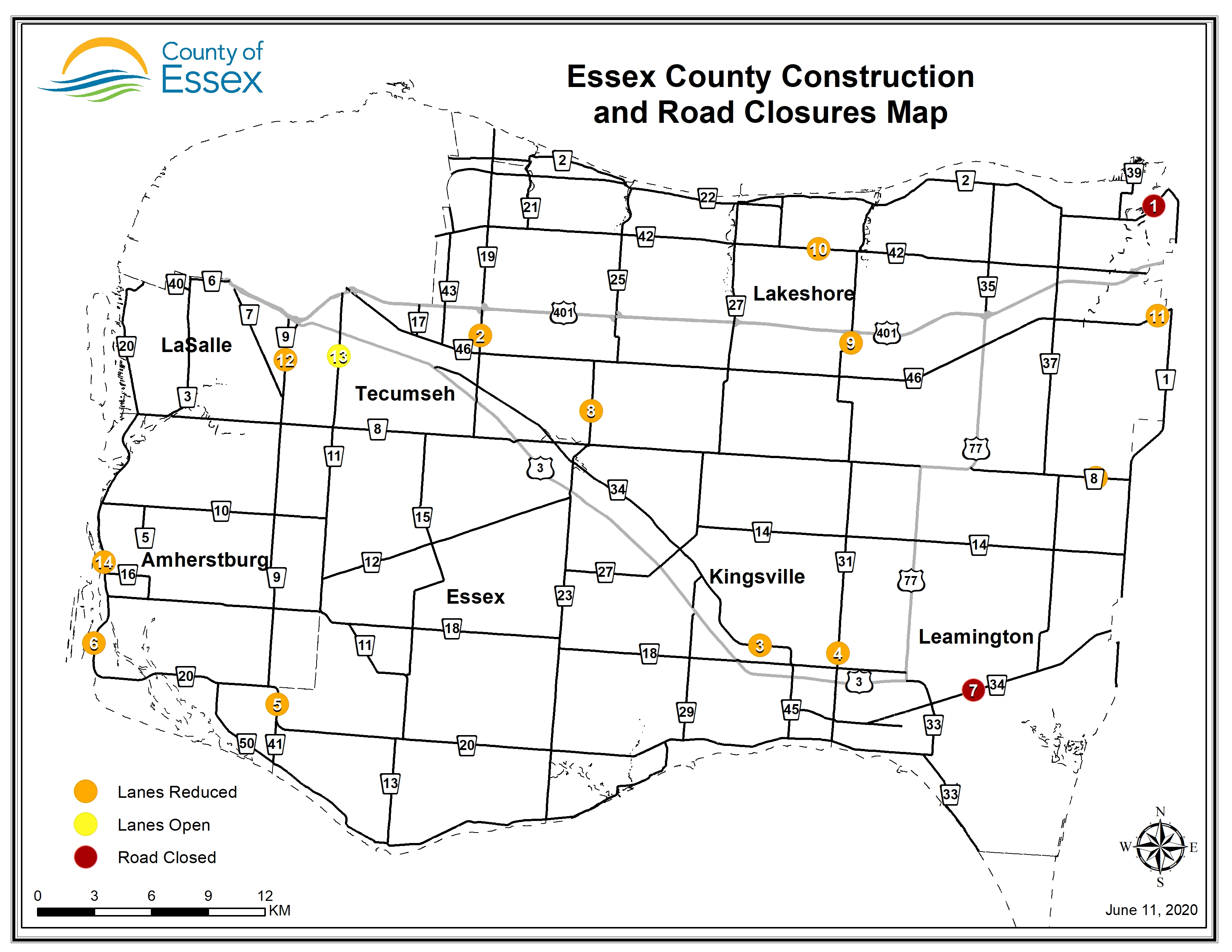 A map of Essex County showing road closures and lane restrictions for June 12, 2020