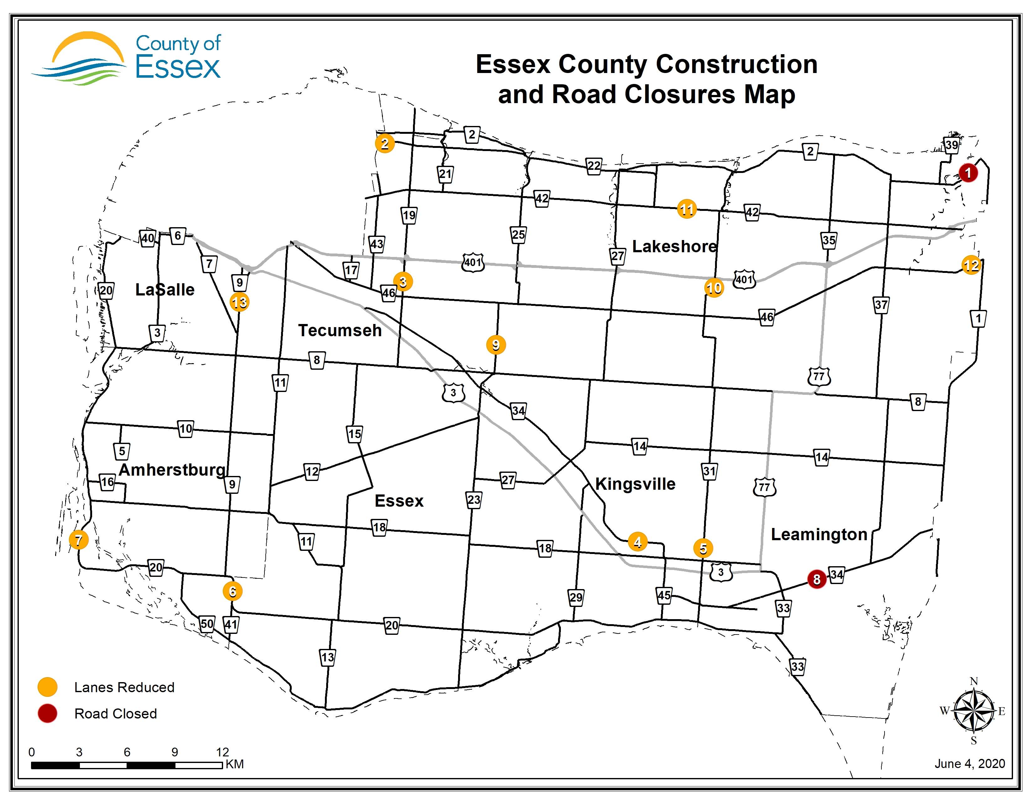 A map of Essex County showing road closures and lane restrictions for June 4, 2020