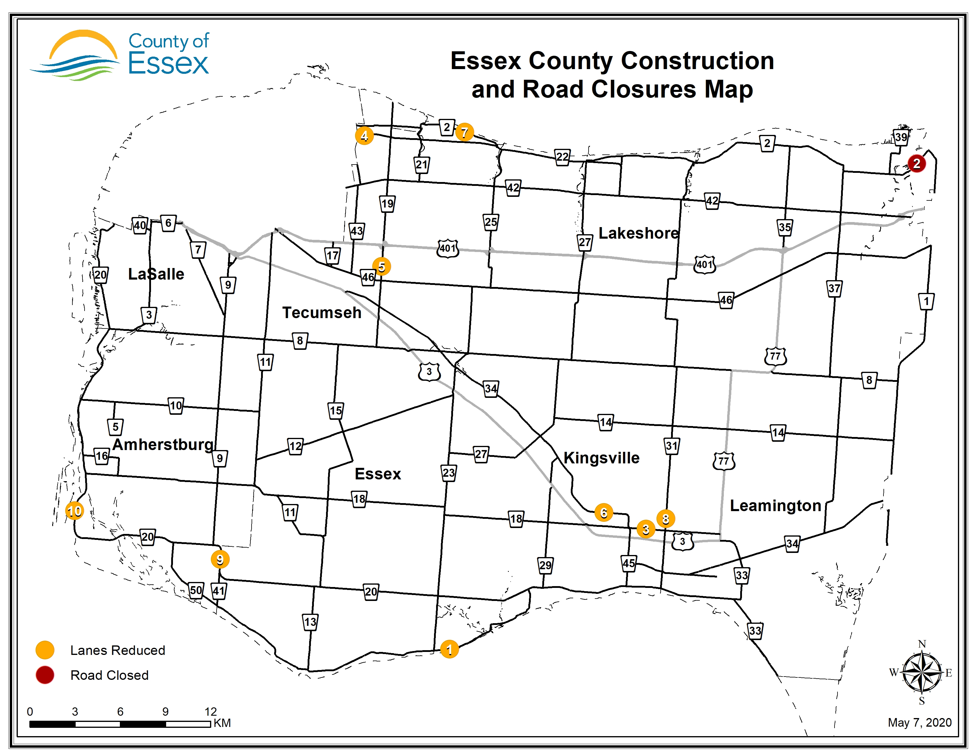 A map of Essex County showing road closures and lane restrictions for May 7, 2020