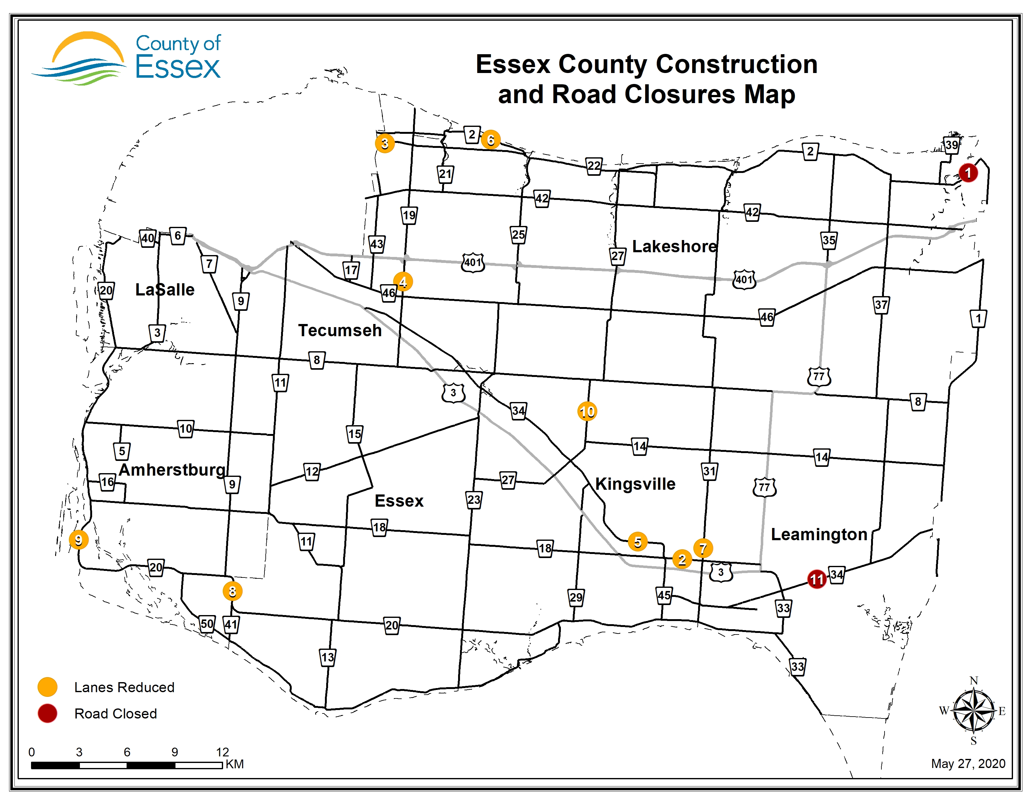 A map of Essex County showing road closures and lane restrictions for May 27, 2020.