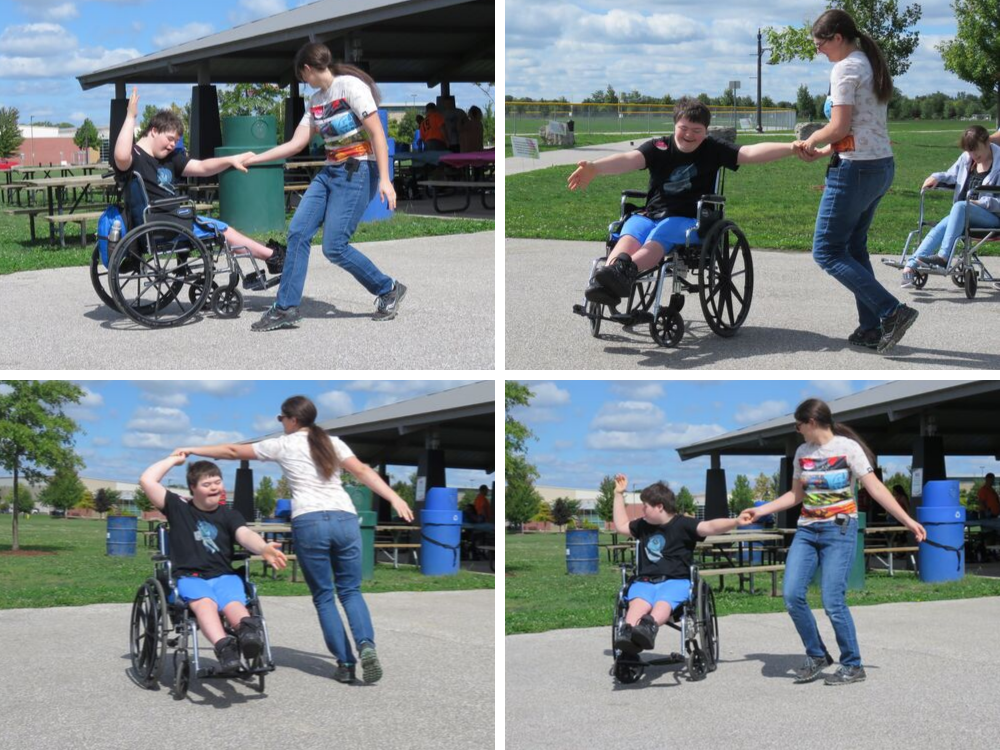 A four-picture composite showing Marisa St. Louis dancing with her brother, Braeden, who is in a wheelchair.