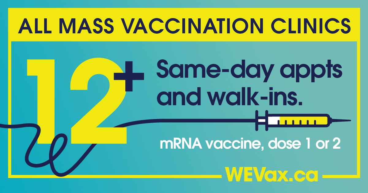 All mass vaccination sites same-day appointments and walk-ins, with WEVax logo.