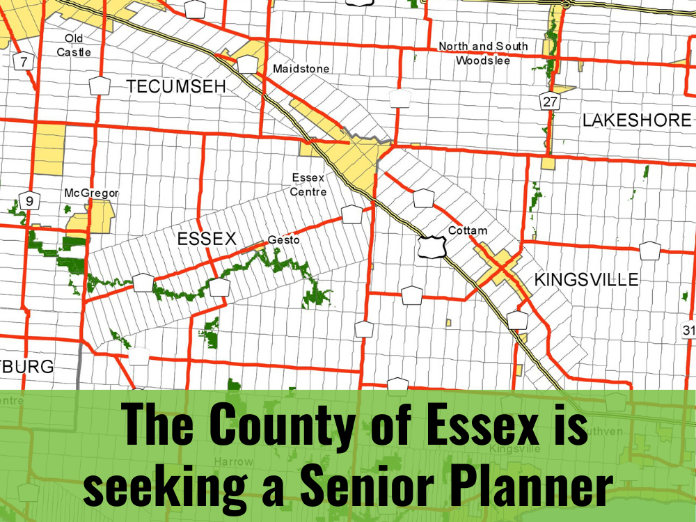 A map of Essex County and the words: 'The County of Essex is hiring a Senior Planner'