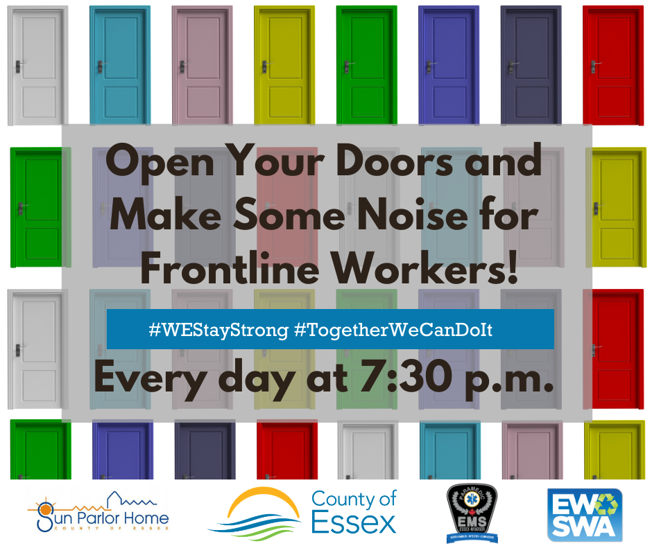 Colourful doors and words urging people to make noise for frontline workers every night at 7:30 p.m.