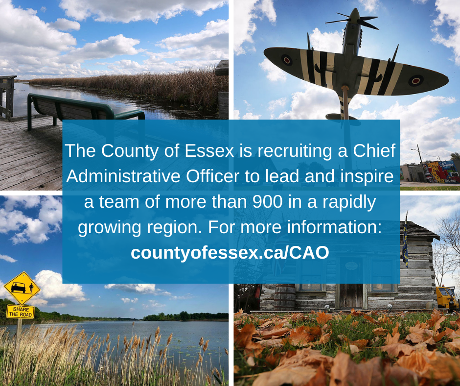 Four pictures of Essex County locations and words advising the County is recruiting a CAO.
