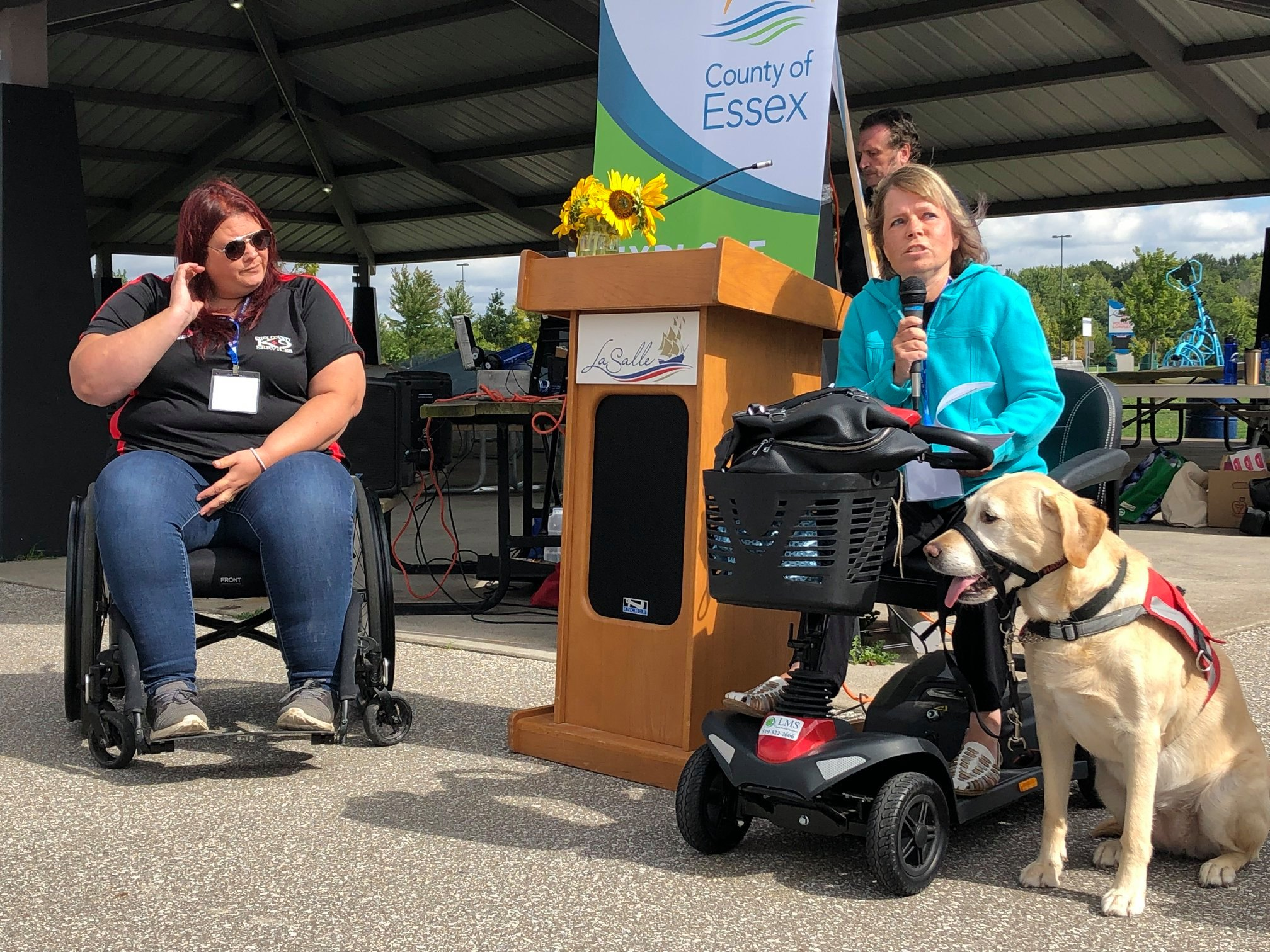 Christine Easterbrook speaks at the 2nd Annual Accessibility Awareness Walk in the Town of LaSalle.