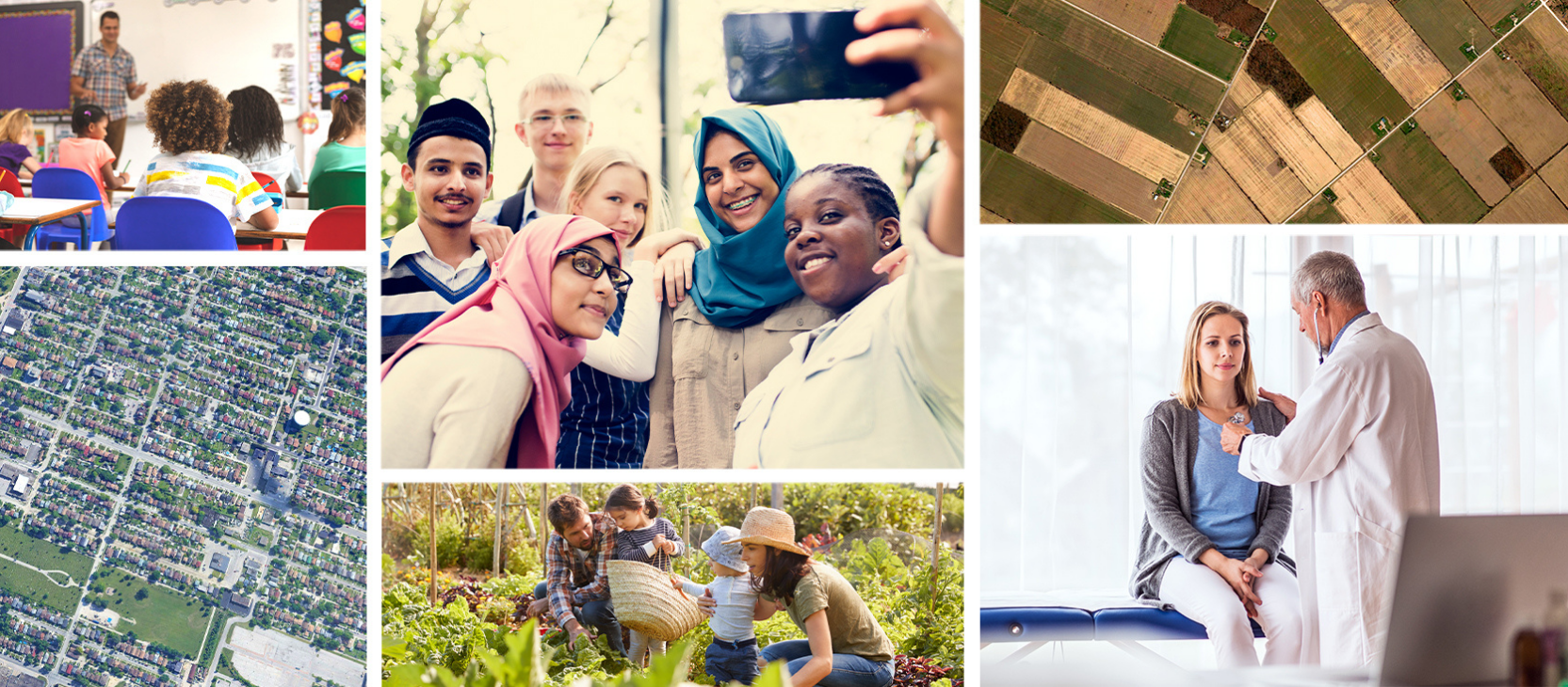 A mosaic featuring students in the classroom, workers in a field, a doctor with a patient, aerial views of urban and rural areas and a group taking a selfie