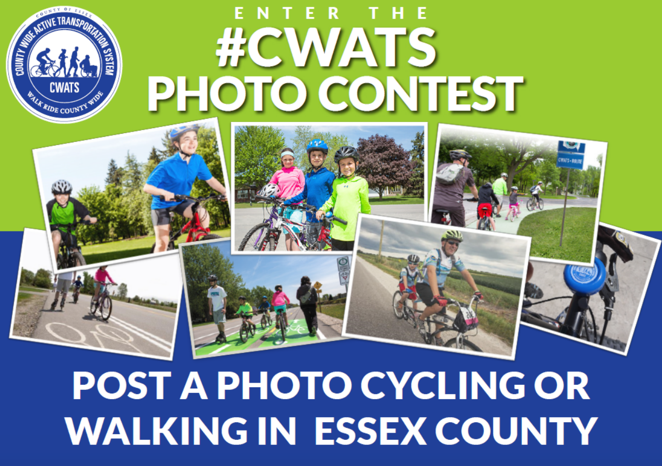 A photo collage of cyclists and pedestrians promoting the CWATS photo contest