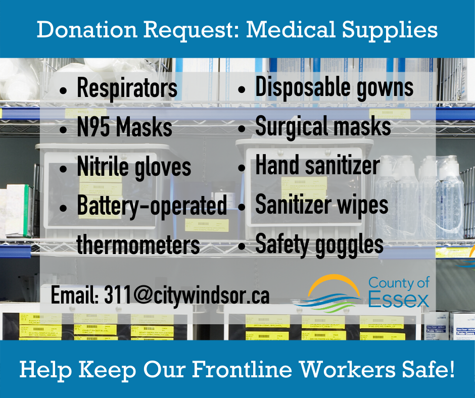 A list of medical supplies needed by frontline workers in the battle against COVID-19.