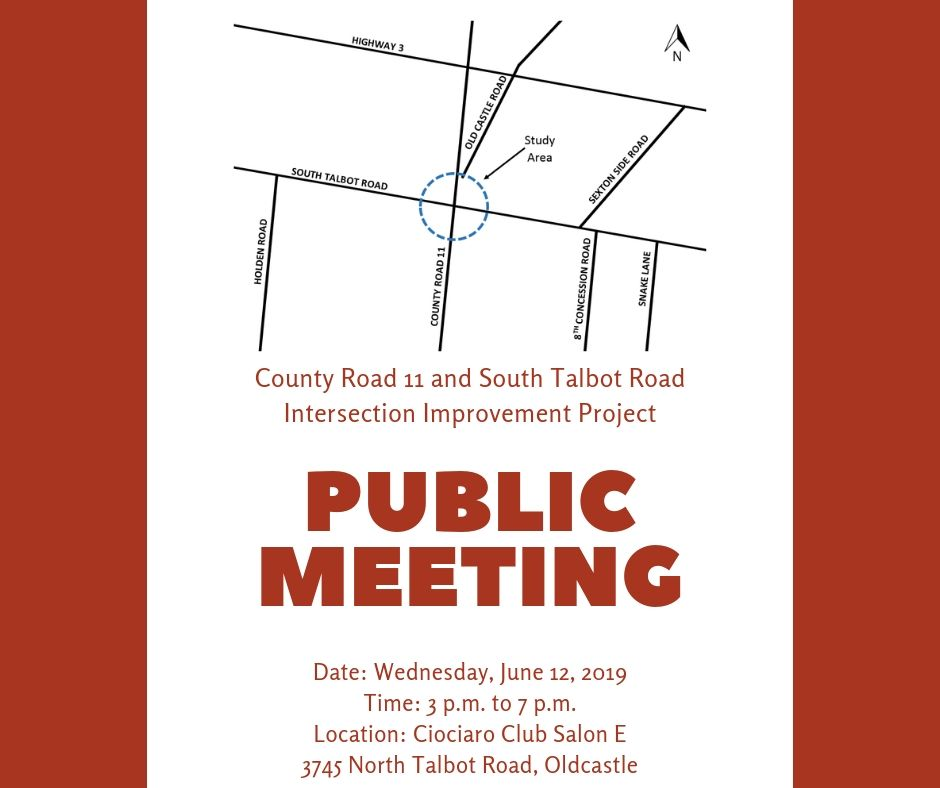 A map of the Walker Road/South Talbot Intersection and the date, time and location of the meeting.