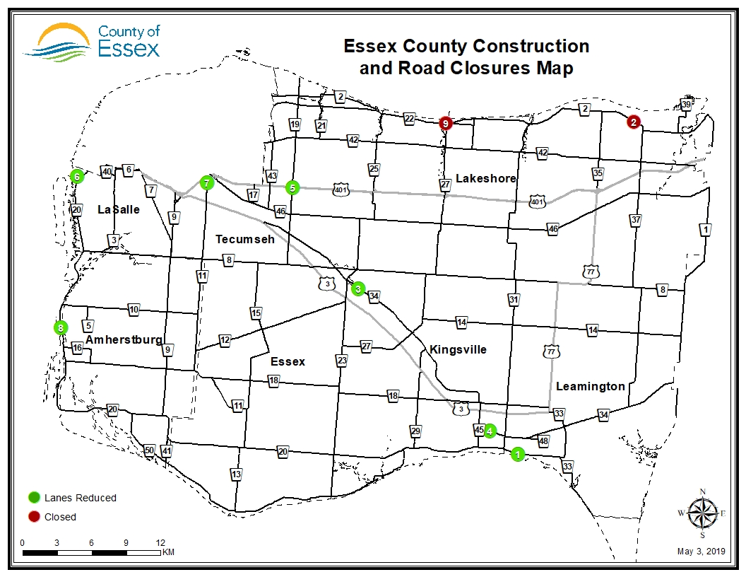 A map of Essex County showing road closures and lane restrictions for May 3, 2019.